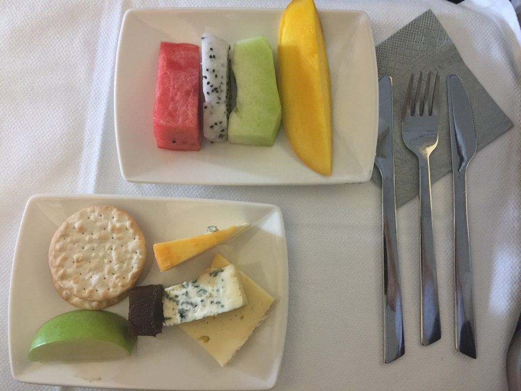 Cathay Pacific cheese and crackers